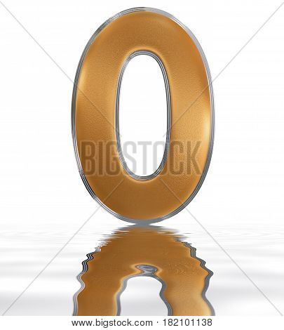 Numeral 0, Zero, Reflected On The Water Surface, Isolated On  White, 3D Render