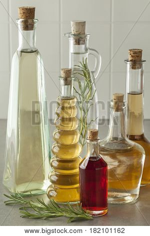 Variety of bottles with homemade organic vinegar