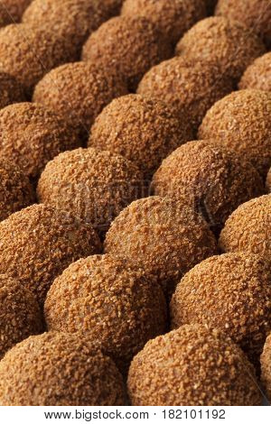 Dutch traditional crumbly snack bitterballen full frame