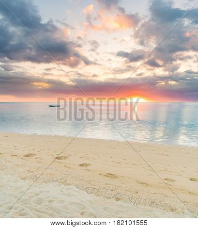 Sandy tropical beach at sunset.  Mauritius