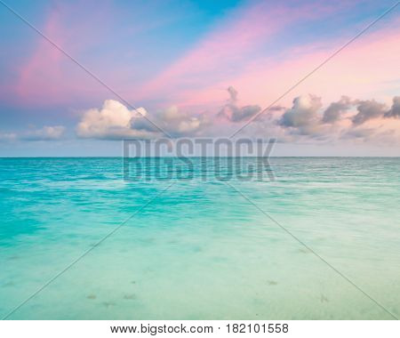 Amazing Pointe d'Esny beach on the South East Coast of Mauritius at sunset.