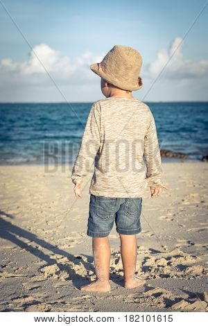 Rear view of a boy at seaside. Mauritius