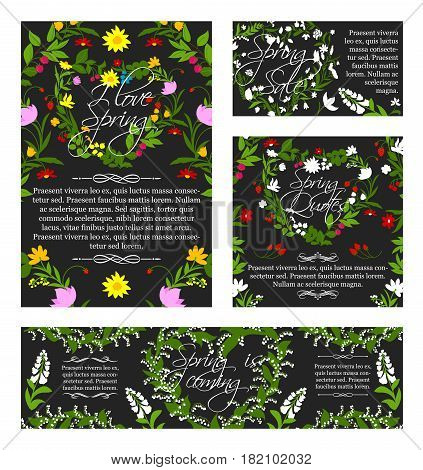 Spring banners and posters set for springtime holiday greetings. Vector quotes of Hello Spring and Love design for shopping time and discount with blooming flowers and heart floral ornaments
