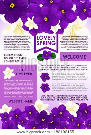 Welcome Spring poster with floral border. Springtime holidays welcome web banner with blooming flowers of crocus, jasmine and violet, green leaf and ribbon. Spring season themes design