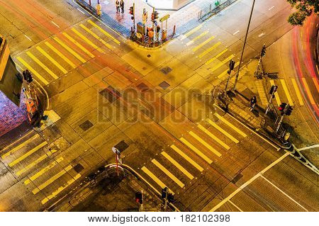 Aerial View Of A Junction In Hong Kong
