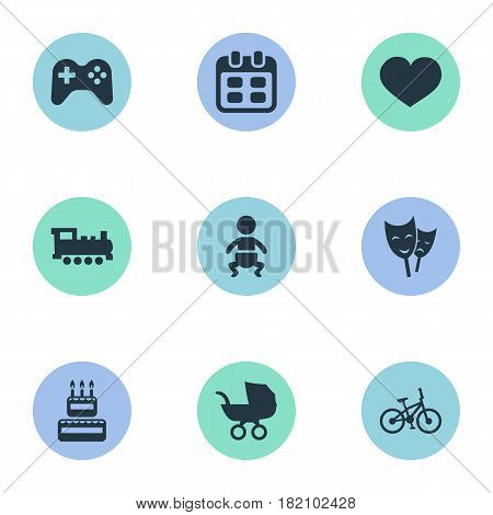 Vector Illustration Set Of Simple Birthday Icons. Elements Soul, Days, Confectionery And Other Synonyms Carriage, Locomotive And Schedule.