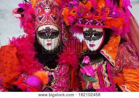 Women With Masks At Venetian Carnival