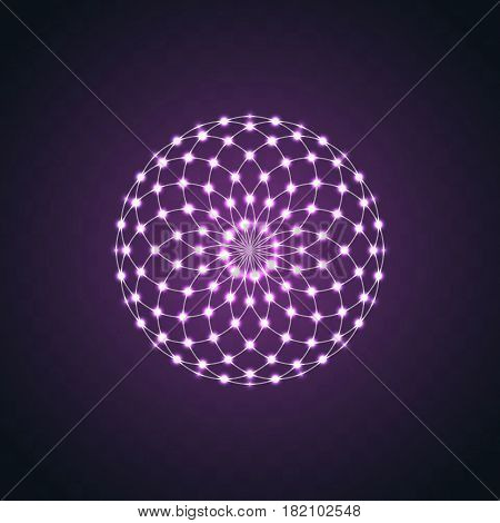 Isolated Neon glow symmetry element. Sacred Geometry. Abstract psychedelic vector logo vector