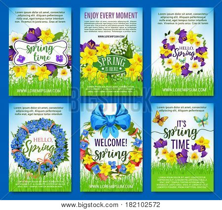 Spring greeting posters. Vector design of springtime flowers, floral wreath and bouquets for spring holiday. Blooming tulips or iris, daffodils narcissus, crocuses and lily or snowdrops on green grass