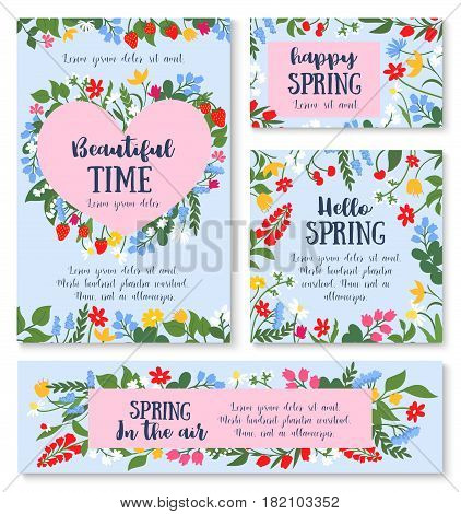 Hello spring floral greeting card and banner template. Spring flower and berry frame in shape of heart with daisy, lily, strawberry, cherry, snowdrop and herbs cartoon poster for spring holiday design