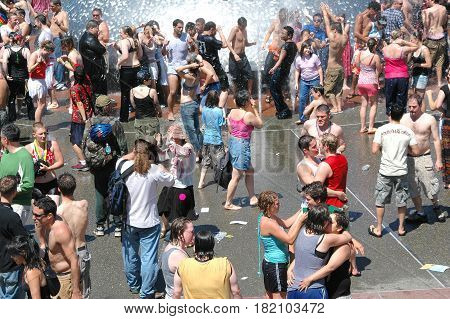JUNE 25, 2006. SEATTLE, WA.  CIRCA:  Gay, Lesbian Pride Day celebration at the Seattle Water Fountain.