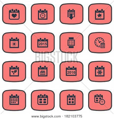 Vector Illustration Set Of Simple Date Icons. Elements Deadline, History, Event And Other Synonyms Day, Leaf And Event.