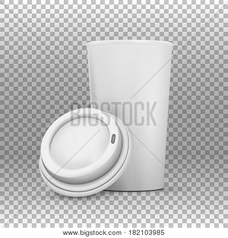 Illustration of Vector Coffee Cup Mockup. Realistic Open Coffee Cup To Go on Transparent Overlay Background