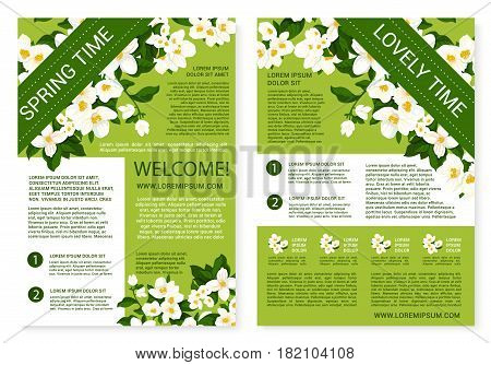 Welcome Spring greeting poster of white flowers wreath and floral bunches. Vector lovely quotes for springtime holidays with blooming lily flower bouquets and flourish jasmine or crocuses blossoms