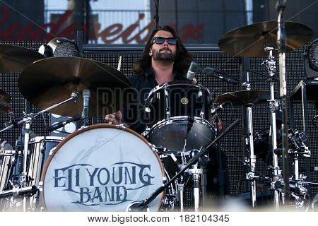 FRISCO, TX-APR 23: Chris Thompson of the Eli Young Band performs onstage during the 2016 Off The Rails Music Festival - Day 1 at Toyota Stadium in Frisco, Texas