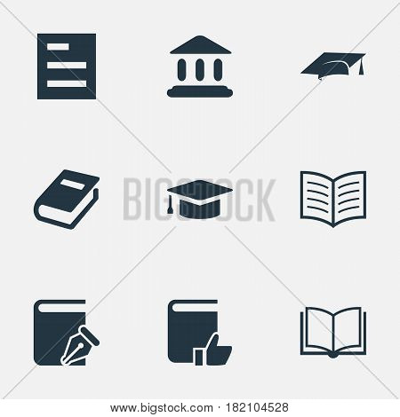 Vector Illustration Set Of Simple Books Icons. Elements Book Page, Sketchbook, Library And Other Synonyms Building, Favored And Note.
