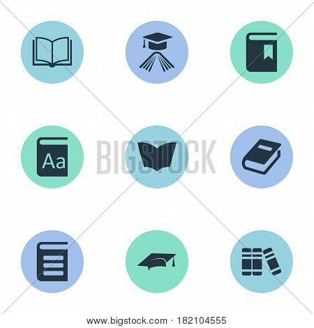 Vector Illustration Set Of Simple Reading Icons. Elements Notebook, Bookshelf, Book Cover And Other Synonyms Textbook, Bookshelf And Library.