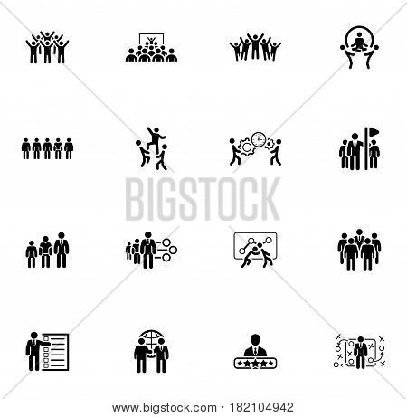 Flat Design Business Team Icons Set including Meeting, Training, Teamwork, Team Building, Management, Career, Tactics. Isolated Illustration. App Symbol or UI element.
