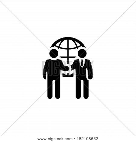 Business Meeting Icon. Flat Design. Two man at the meeting. App Symbol or UI element.