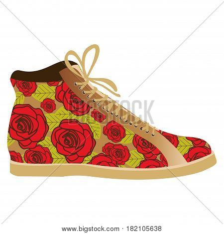 colorful silhouette of boot with shoelaces and floral decoration vector illustration