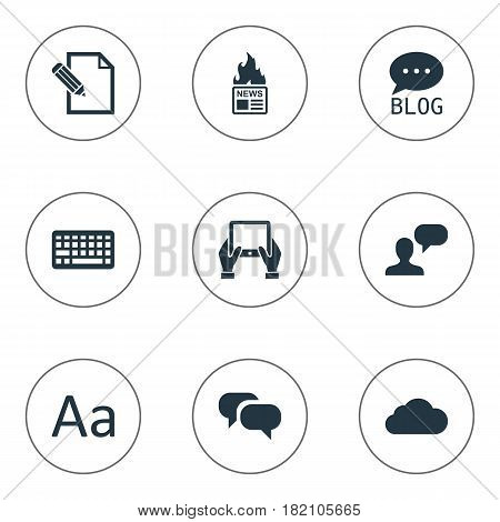 Vector Illustration Set Of Simple Newspaper Icons. Elements Gossip, Keypad, Gazette And Other Synonyms Alphabet, Tablet And Laptop.