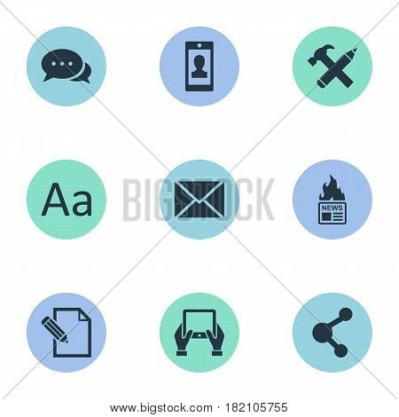 Vector Illustration Set Of Simple User Icons. Elements Cedilla, Document, Repair And Other Synonyms Contract, Missive And News.
