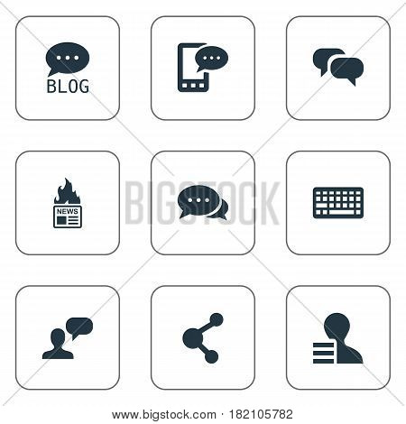 Vector Illustration Set Of Simple Newspaper Icons. Elements Gain, Gazette, Site And Other Synonyms Keyboard, Profit And Speech.