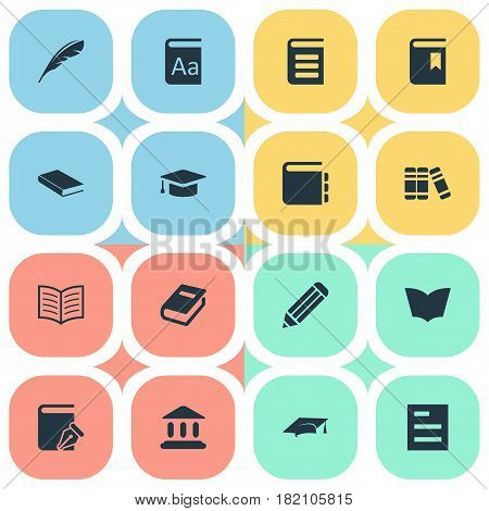 Vector Illustration Set Of Simple Knowledge Icons. Elements Notebook, Encyclopedia, Alphabet And Other Synonyms Dictionary, Writing And Literature.