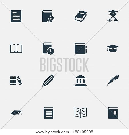 Vector Illustration Set Of Simple Knowledge Icons. Elements Bookshelf, Plume, Important Reading And Other Synonyms Journal, Blank And Note.