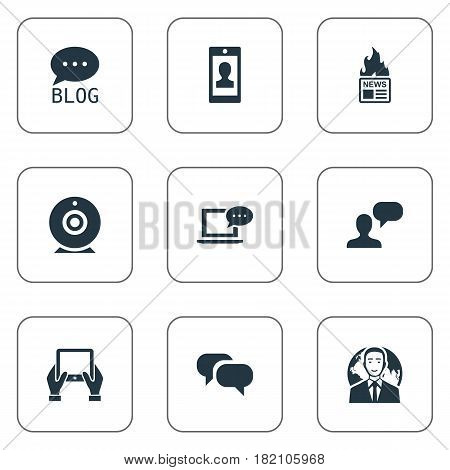 Vector Illustration Set Of Simple Blogging Icons. Elements Gossip, Laptop, International Businessman And Other Synonyms Profile, Camera And Broadcast.