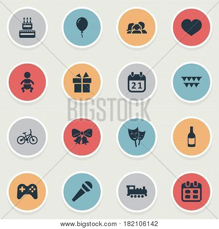 Vector Illustration Set Of Simple Celebration Icons. Elements Ribbon, Infant, Beverage And Other Synonyms Feelings, Ribbon And Balloon.