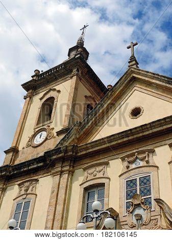 The facade of the old church in Aparecida city, Brazil