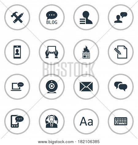 Vector Illustration Set Of Simple User Icons. Elements International Businessman, Broadcast, Laptop And Other Synonyms Speech, Considering And Epistle.