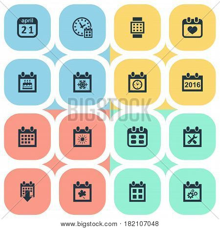Vector Illustration Set Of Simple Time Icons. Elements Reminder, 2016 Calendar, Event And Other Synonyms Snowflake, Leaf And Annual.