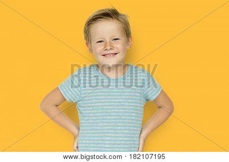 Little Boy Smiling Face Expression Studio Portrait