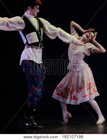 ST. PETERSBURG, RUSSIA - MARCH 28, 2016: Young dancers perform at the opening ceremony of X International Festival of Choreographic Art Pari Grand. Artists from 9 countries participated in the fest