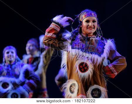 ST. PETERSBURG, RUSSIA - MARCH 28, 2016: Dancing group Angels perform at the opening ceremony of X International Festival of Choreographic Art Pari Grand. Artists from 9 countries participated