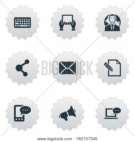 Vector Illustration Set Of Simple Newspaper Icons. Elements Keypad, Document, Laptop And Other Synonyms Missive, Keyboard And Network.