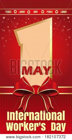 International Workers Day card. 1 May. Peace, labor, may. Vector illustration for Labor Day