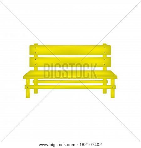 Rural bench in yellow design on white background