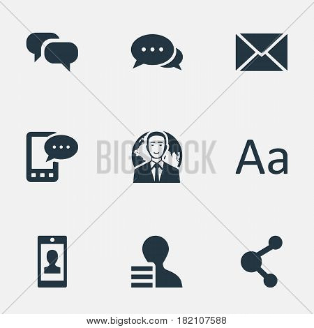 Vector Illustration Set Of Simple User Icons. Elements Share, Profile, Post And Other Synonyms Epistle, Discussion And Smartphone.