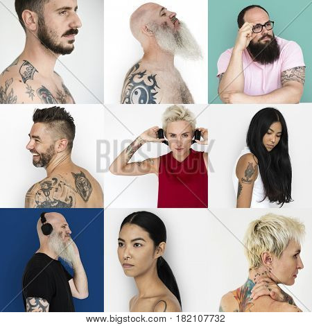 Set of Diversity People Showing Tattoo Studio Collage