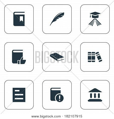 Vector Illustration Set Of Simple Reading Icons. Elements Tasklist, Book Cover, Bookshelf And Other Synonyms List, Academy And Bookshelf.
