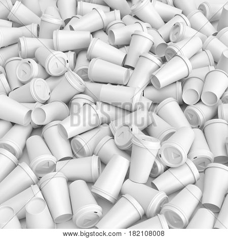 Pile of white blank disposable paper or plastic coffee cups. 3D render on white background.