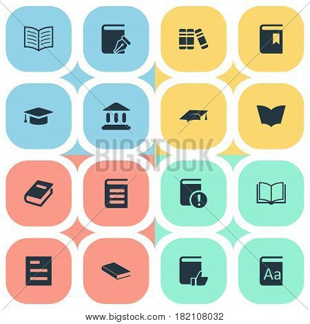 Vector Illustration Set Of Simple Books Icons. Elements Notebook, Book Cover, Bookshelf And Other Synonyms Write, Hat And Bookmark.