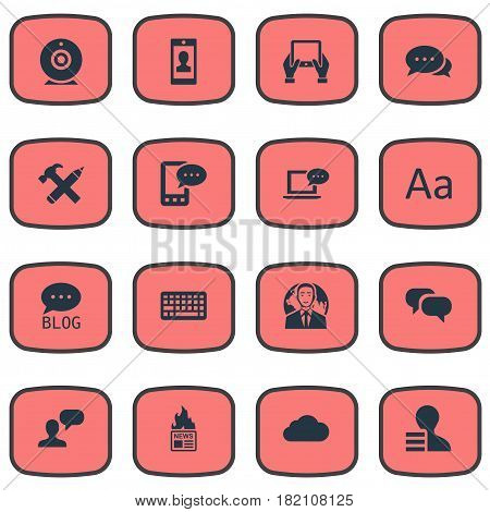 Vector Illustration Set Of Simple Blogging Icons. Elements Profile, Gain, Man Considering And Other Synonyms Negotiation, Gossip And Overcast.