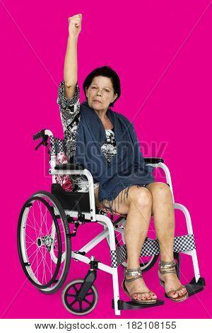 Disable Adult Woman Sitting on Wheelchair Studio Portrait