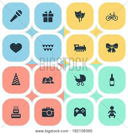 Vector Illustration Set Of Simple Celebration Icons. Elements Speech, Confectionery, Mask And Other Synonyms Photo, Confectionery And Heart.