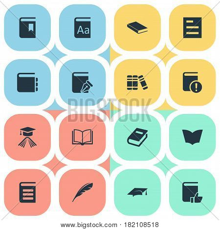 Vector Illustration Set Of Simple Books Icons. Elements Bookshelf, Academic Cap, Important Reading And Other Synonyms Academic, Library And Sketchbook.
