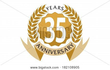 35 Years Ribbon Anniversary Celebration Congratulation Elegance